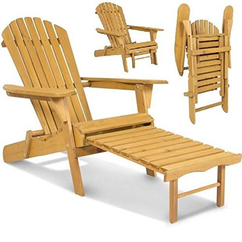 New Elegant Adirondack Outdoor Wood Chair Folding Wooden with Pull Out Ottoman and Adjustable Back Seat Patio Outdoor Deck Porch Garden Lawn Yard Lounger Beach Furniture (Outdoor Adjustable Adirondack Lounge)