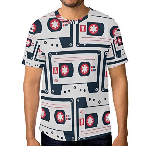 FAJRO Cassette Tape Pattern Men's Short Sleeve T-Shirt Athletic - Cassette Pattern