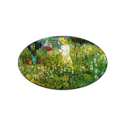 - Marguerite Gachet in the Garden By Vincent Van Gogh Oval Sticker
