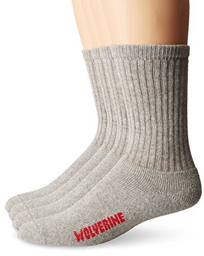 Wolverine Men's 4 Pack Crew Rib Stay Up Top Band Socks, Gray, Sock Size:10-13/Shoe Size: 6-12