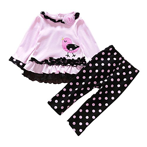 iEFiEL Baby Girls Adorable Kitty/Polka Dots Long Sleeve T-Shirt Tops Pants Outfits Set Pink&Black 9 -