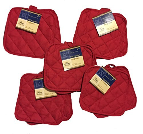 (5 (FIVE) Sets of The Home Store Cotton Pot Holders, 2-ct. Color Variety Pack Kitchen Cooking Chef Linens (Reds))
