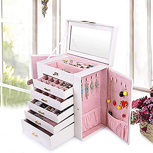 AKOZLIN Jewelry Box Organizer Functional Huge Lockable, Leather Jewelry Storage Case for Women Girls Ring Necklace Earring Bracelet Holder Organizer with Mirror White