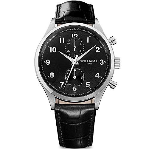 - William L. 1985 Men's Analogue Quartz Chronograph Watch with Black Croco Leather Strap Vintage Style WLAC02NRCN