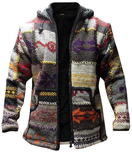 - Shopoholic Fashion Mens Patchwork High Neck Boho Hippy Jacket (Multi,M)