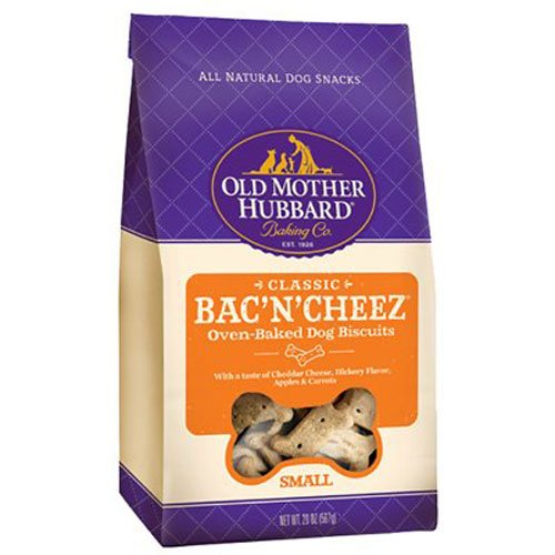 Old Mother Hubbard Classic Crunchy Natural Dog Treats, Bac'N'Cheez Small Biscuits, 20-Ounce Bag (Biscuits Flavored)