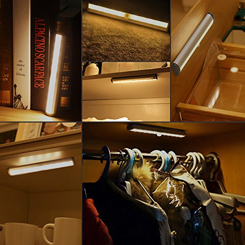 LE LED Motion Sensor Closet Lights, 10 LED Wireless Under Cabinet Lighting, Stick-on Anywhere Night Light Bars with Magnetic Tape for Closet Cabinet Wardrobe Stairs, Battery Operated, 4 Pack by Lighting EVER (Image #1)'