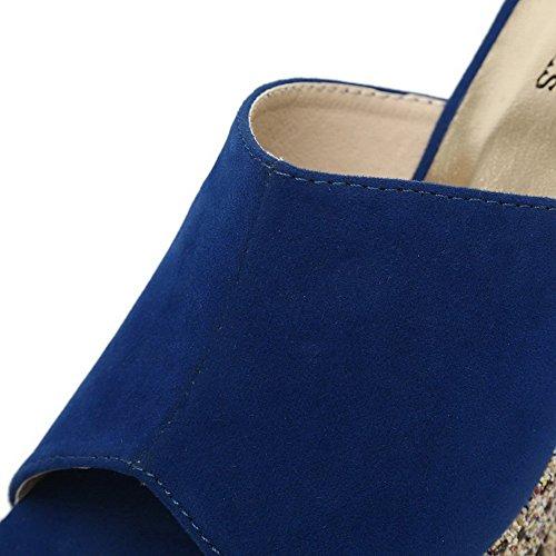 Ciabatte Smerigliate Blu Balamasa Da Donna Con Tacco Alto