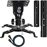 """Cheetah Mounts APMEB Universal Projector Ceiling Mount Includes a 27"""" Adjustable Extension Pole; One Twisted Veins 15' (m 4.5) HDMI Cable. One Three Axis Magnetic Bubble Level"""