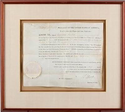 President Thomas Jefferson - Land Grant Signed November 3, 1803 - Co-signer: James Madison