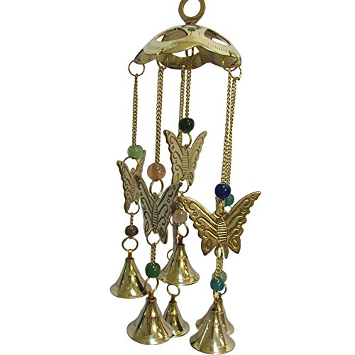 Padma Craft Beaded Butterfly Brass Bell Yoga Zen Meditation Harmony Hanging Wind Chime