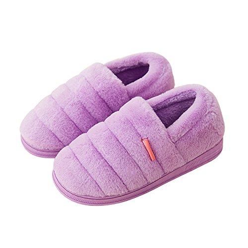 Pantoufles Hiver Habuji En Coton Avec Sac À Talon Avec Un Sac De Maternité De Bureau Chaud Post-partum Chaussures, 39-40, Violet