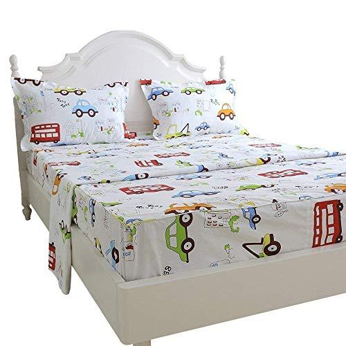 Brandream Kids Boys Cars Vehicles Bed Sheet Set Cotton Sheets Set 4pcs Full Size