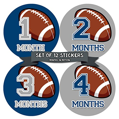 Baby Monthly Stickers | Monthly Milestone Stickers | Baby Month Stickers for Boy | Football Sports (Style 1001)