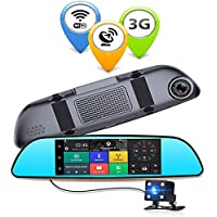 Anstar 3G Car DVR 6.86 Inch Dash Cam Android 5.0 GPS Navigation Touch Screen Mirror Accident Recorder Dual Lens Camera Full HD 1080P Rear Parking WIFI FM Cam Recorder with 16G TF Card