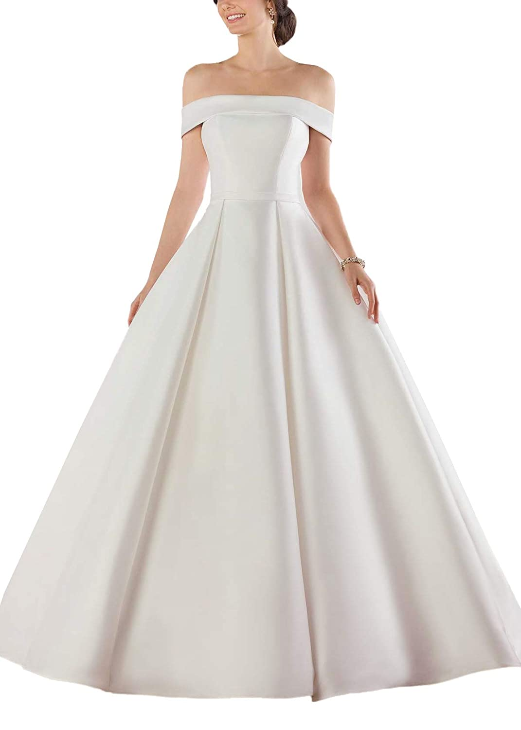 Doramei Womens Ball Gown Wedding Dress Off Shoulder Satin Pleated Button Back Long Bridal Gowns with Sweep Train