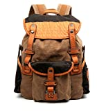 The Same Direction Tapa Two Tone Canvas Backpack Leather and Canvas Bag (Brown)