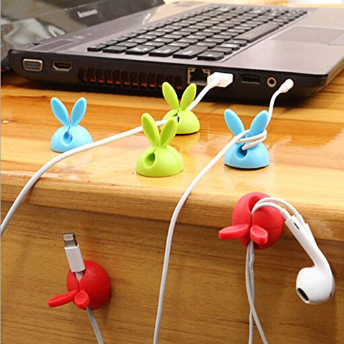 SanHype(TM) 4pcs/lot Cute Rabbit Cable Holder Silicone Desktop Tidy Drop Lead Wire Organizer Office Table USB Charger Cable Holder