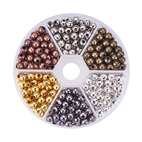 PH PandaHall About 420pcs 6 Colors 5mm Iron Round Spacer Beads Smooth Round Tiny Metal Beads for Necklaces Bracelets Jewelry -