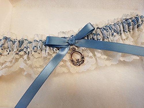 Claddagh Charm Garter, Irish Garter, Ivory Lace Garter, Something Blue Garter, Wedding Garter
