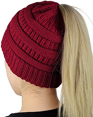 Crochet Stretch Cap (Muryobao Slouchy Cable Knit Beanie Women Crochet Ponytail Messy High Bun Beanie Trendy Warm Chunky Soft Stretch Cable Knit Beanie Skully(One size Red))