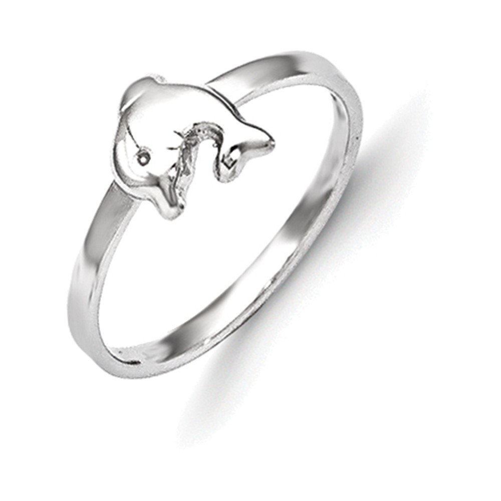 Jewelry Adviser Rings Sterling Silver RH Plated Childs Polished Dolphin Ring