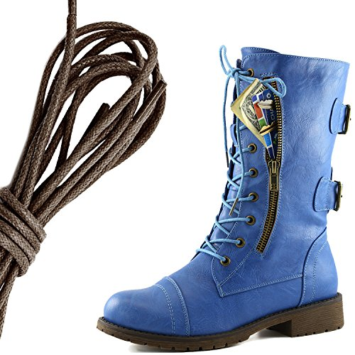 DailyShoes Womens Military Lace Up Buckle Combat Boots Mid Knee High Exclusive Credit Card Pocket, Dark Brown Blue Skies