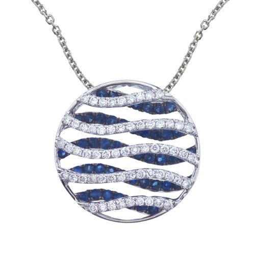 - 0.98 Carat (ctw) 14k White Gold Round Blue Sapphire and Diamond Women's Wave Circle Pendant with 18
