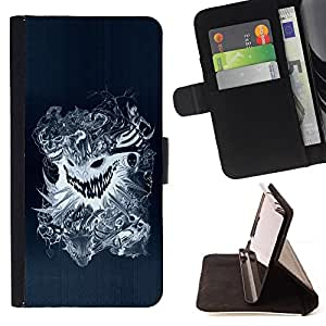 cool design tattoo dragon scary skull badass - Painting Art Smile Face Style Design PU Leather Flip Stand Case Cover FOR Apple Iphone 4 / 4S @ The Smurfs