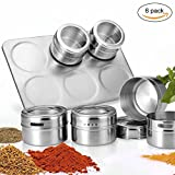 Magnetic Spice Tins with Rack,Stainless Steel Kitchen Spice Jars Set,Clear Top,Shaker Lid, 6pcs x 3 oz-by Xiujanet