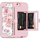 DOMAVER iPhone 6S Plus Case,iPhone 6 Plus Case with Wallet Card Holder and Mirror Hard Plastic Soft TPU Rubber Heavy Duty Shockproof Protective Phone Case for Apple iPhone 6S Plus/6 Plus,Rose Gold