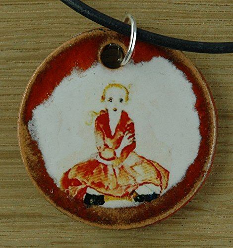 Orginal handicraft: Egon Schiele; expressionism, art print, girl, jewellery, jewelry, handcrafted necklace, best gift, art, ceramic