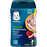 Gerber Baby Cereal Hearty Bits Multigrain Cereal Banana Apple Strawberry, 8 Ounce