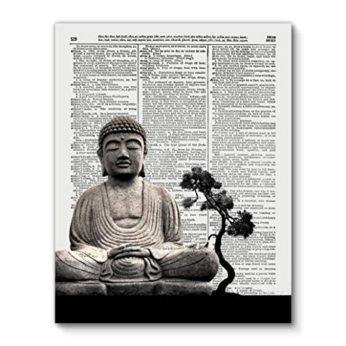 Buddha Statue with Tree, Zen Yoga, Vintage Dictionary Art Print Reproduction Contemporary Wall Art For Home Decor, Modern Boho Art Print Poster, Country Farmhouse Wall Decor 11x14 Inches, Unframed from Vintage Book Art Co.