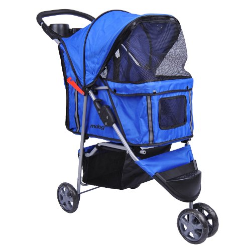 MDOG2 MK0015A 3-Wheel Front and Rear Entry Pet Stroller, Blue Review