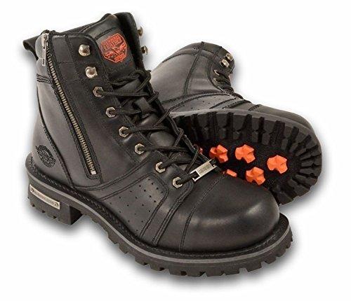 Los hombres de la motocicleta moto botas Pure piel 6inch cremallera Plain Toe Negro Regular) Regular