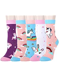 9e8aab22322 5 Pack Kids Girls Colorful Fun Novelty Cartoon Rainbow Unicorn Kitty Cat  Cute Animals Cotton Crew