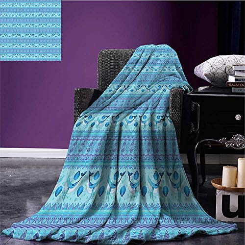 Cozy Flannel Blanket Ocean Inspired Pattern with Ethnic Geometrical Borders Fish and Scallops Bed Cover Turquoise Lilac Blue Bed or Couch 60