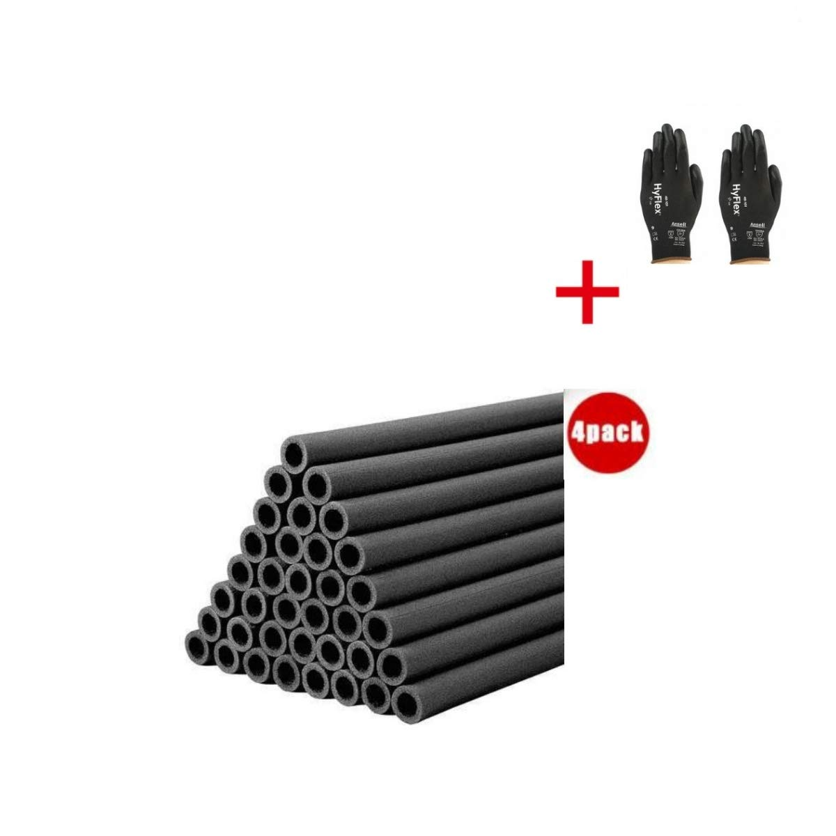 2'' x 6 ft. Polyethylene Pipe Insulation, 1/2'' Wall (4, 2'' x 6 ft.) by THERMACEL