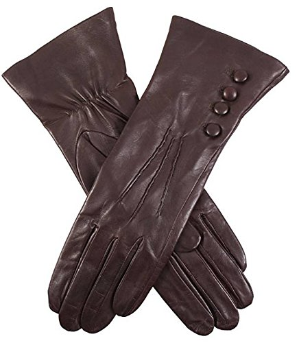 Mocca Rose Silk Lined Leather Gloves by Dents - Small/Medium