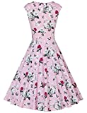 MUXXN Womens Vintage Print Cap Sleeve Formal Cocktail Dress