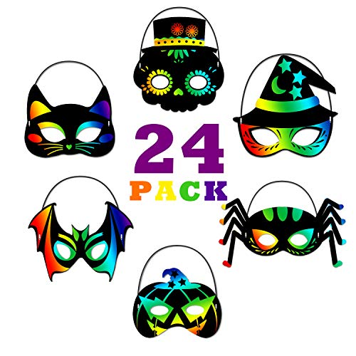 ORIENTAL CHERRY Halloween Crafts - 24PCS Magic Rainbow Scratch Art Masks Kits Bulk - Skeleton Cat Witch Pumpkin Bat Spider Decorations for Kids Ages 3-5 4-8 Classroom Birthday ()