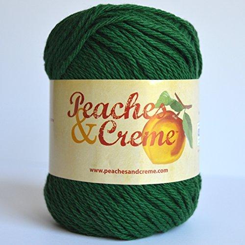 Cream Creme Cotton Yarn - Spinrite Peaches & Creme (Cream) Cotton Yarn Forest Green 2.5 oz