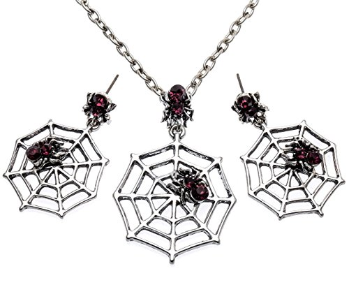 Szxc Jewelry Halloween Party Spider Web Costume Jewelry Gift For Women 18″+2″