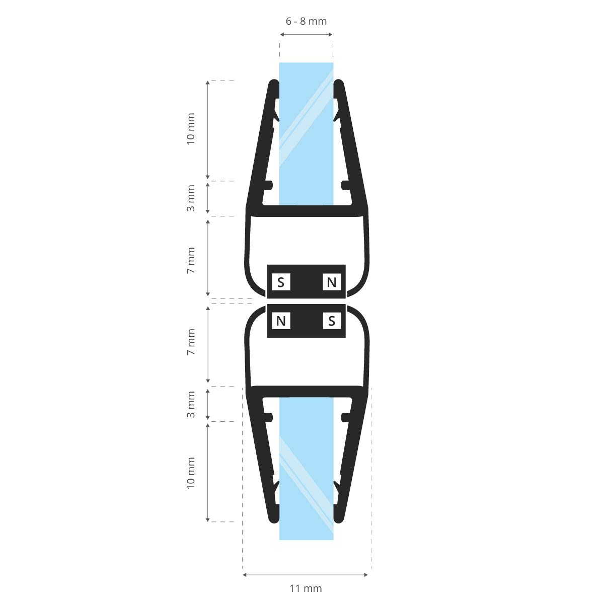 6//7//8 mm STEIGNER Juego de Juntas Magn/éticas para la Puerta de Cabina de Ducha UKM04 190 cm 2 piezas 90 grados