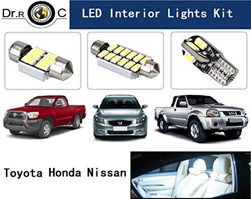 Dr.Roc Brightest LED Interior Lights Kit For Toyota Honda Nissan Pure White 15 PCS(Map Lights,Dome Lights,Vanity Lights,Cargo lights,License Plate Lights)