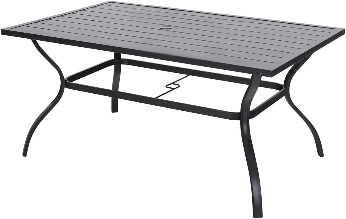 Vicllax Patio Dining Table Outdoor Metal Steel Frame Square Table with Umbrella Hole, Dining Table for 6