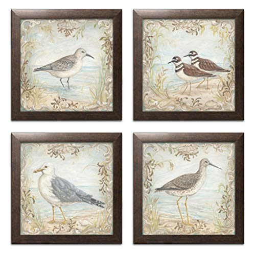 Lovely Seagull, Sandpiper and Shorebird Set; Coastal Décor; Four 12x12in Brown Framed Prints, Ready to Hang!