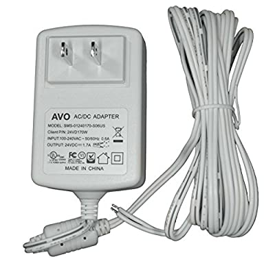 AVO 24VD170W - 24VDC 1.7A White Wall Plug DC Adapter / Power Supply, Input: 100-240VAC 50/60Hz, Non-Terminated 10 Foot Parallel Zip Cord Lead Wire - Pack of 10