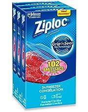 Ziploc Food Storage Freezer Bags with Double Zipper Seal, Easy Open Tabs, Medium, 102 Count